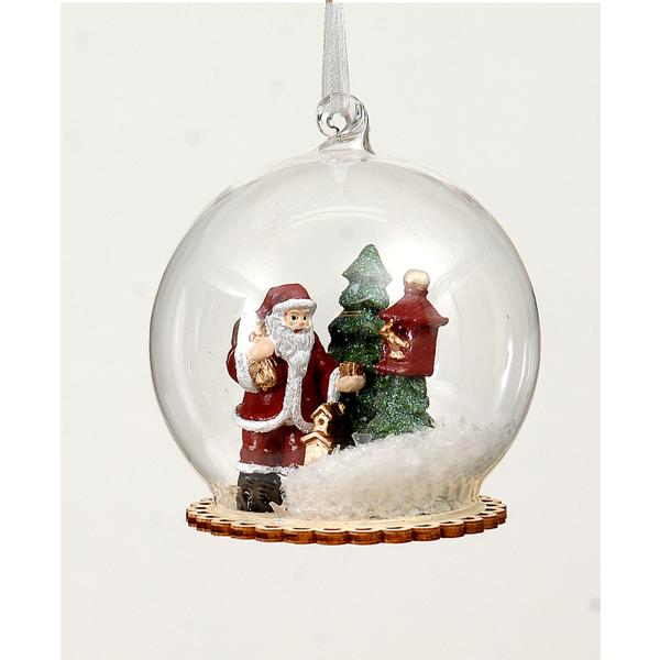 12/72-8,5cm Glass ball w/polyserin red/green Santa