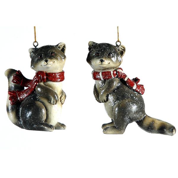8/24 - 2 Asst raccoon ornaments