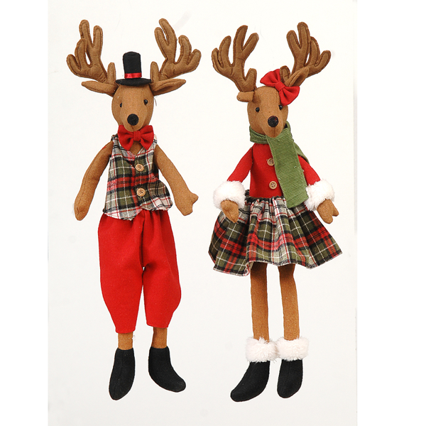 6/12-2Asst 52cm reindeer couple