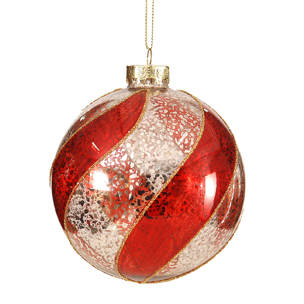 12/48 - 10cm Gold/Red Ball 6-48