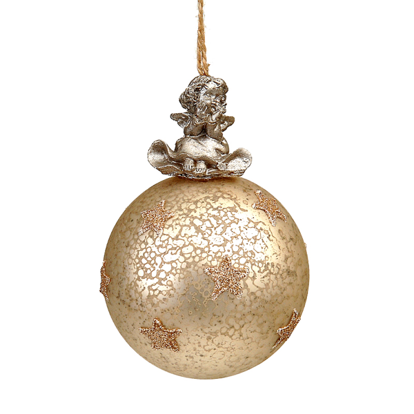 12/96-8cm Gold glass ball w/Angel on top