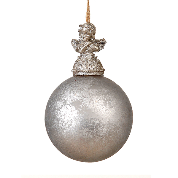12/96-8cm Silver glass ball w/Angel on top