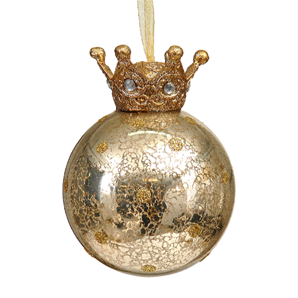12/96-8cm Gold glass ball w/crown on top