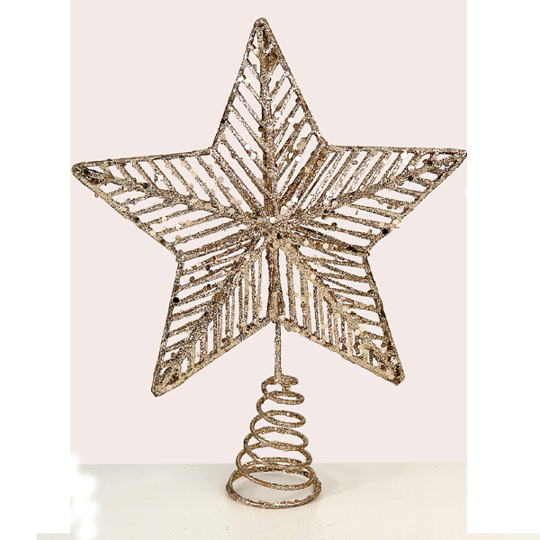 12/72-30cm champagne gold star tree top