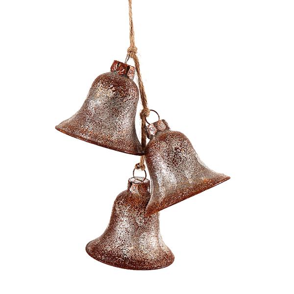 6/36 - 15 cm Glass Retro Bells Orn