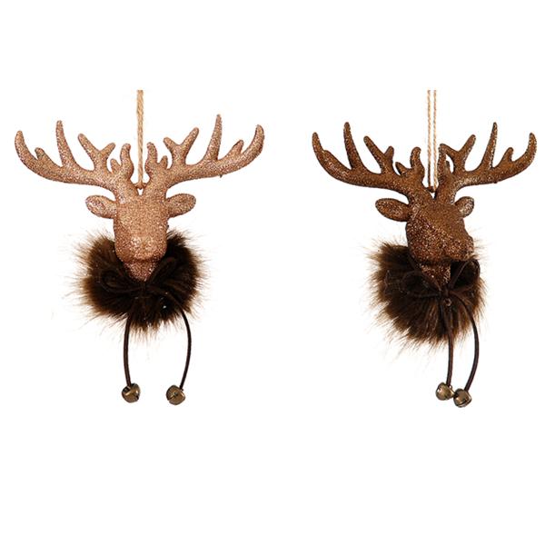 24/96 - 2 Asst 11,50 cm Plastic Glitter Deer Head Scarf Orn