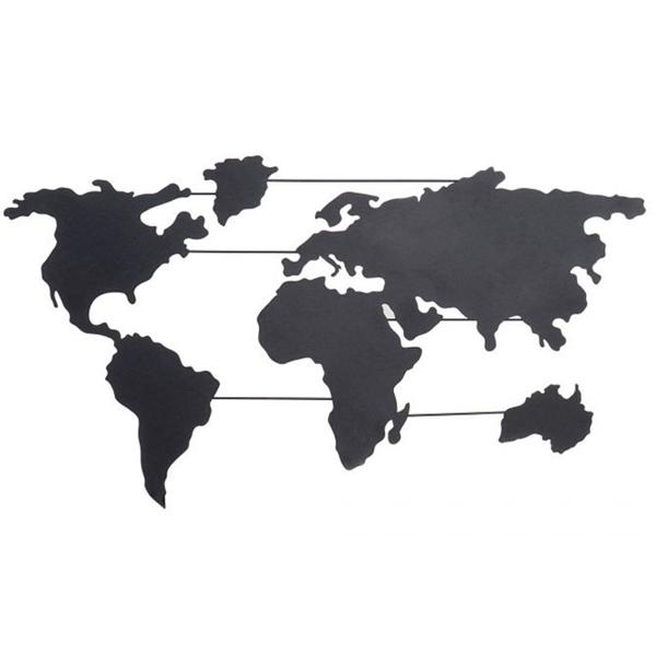 WALL DECORATION IRON 82X1.5X46 MAP BLACK